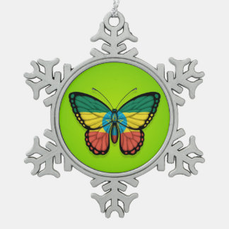 Ethiopian Butterfly Flag on Green Snowflake Pewter Christmas Ornament