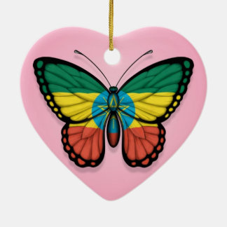 Ethiopian Butterfly Flag on Pink Ceramic Ornament