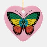 Ethiopian Butterfly Flag on Pink Double-Sided Heart Ceramic Christmas Ornament
