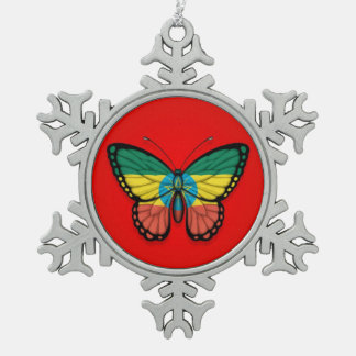 Ethiopian Butterfly Flag on Red Snowflake Pewter Christmas Ornament