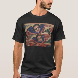 Ethiopian Church Painting - 2 Angels Black T-Shirt
