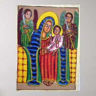 Ethiopian Church Painting - Black Maryam Poster