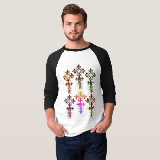 Ethiopian Cross 3/4 Sleeve Raglan T-Shirt