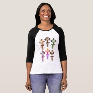 Ethiopian Cross 3/4 Sleeve Raglan T-Shirt