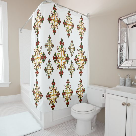 Ethiopian Cross Meskel Shower Curtain