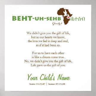Ethiopian Family - Adoption Poem Poster
