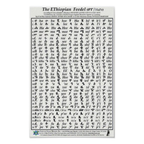Ethiopian Fidel Feedel Alphabet Amharic Poster