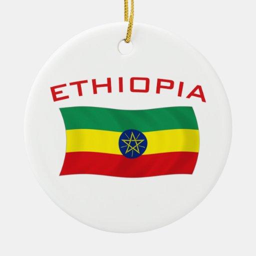Ethiopian Flag 2 Double-Sided Ceramic Round Christmas Ornament