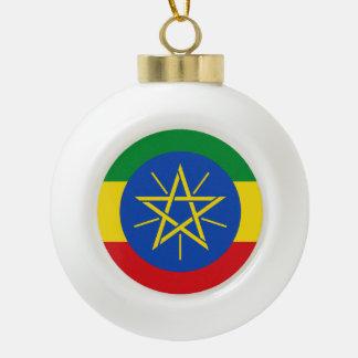 Ethiopian flag ceramic ball christmas ornament