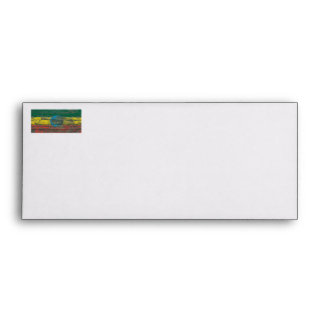 Ethiopian Flag on Rough Wood Boards Effect Envelope