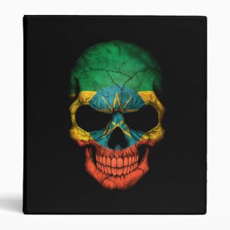 Ethiopian Flag Skull on Black 3 Ring Binders