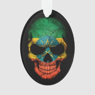 Ethiopian Flag Skull on Black Ornament