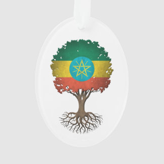 Ethiopian Flag Tree of Life Customizable Ornament