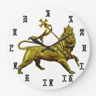 Ethiopian Gold Lion Time - Round (Large) Clock