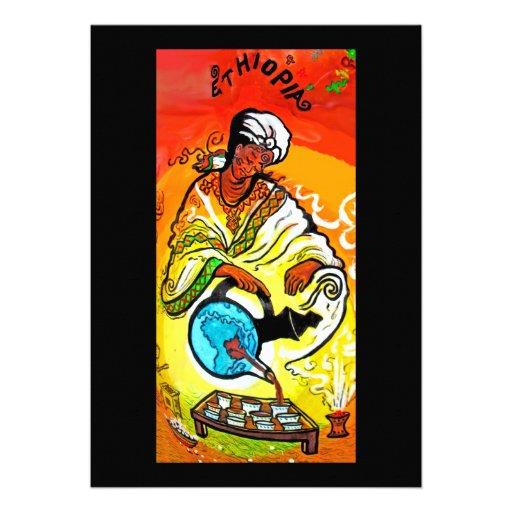 Ethiopian Man in Turban Pouring Tea Personalized Invites