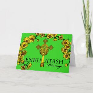 Ethiopian cards zazzle ethiopian new year enkutatash cross and flowers holiday card m4hsunfo