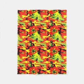 Ethiopian Rastafari Camouflage - Fleece Blanket