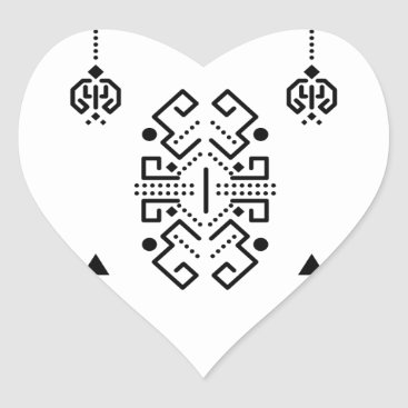 Aztec Themed Ethnic abstract design heart sticker