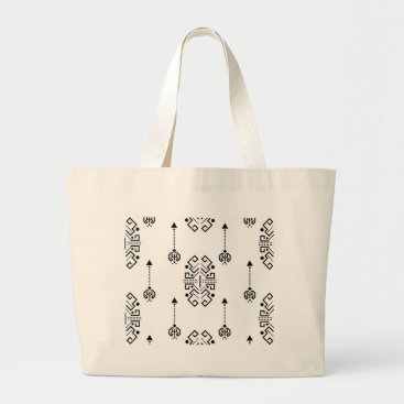 Aztec Themed Ethnic abstract design large tote bag