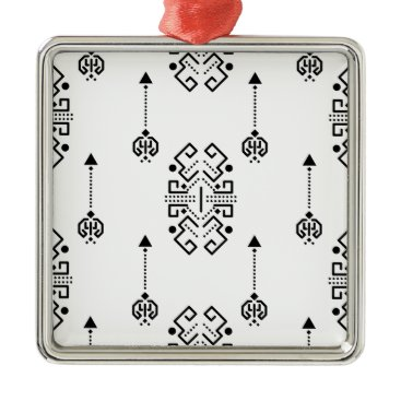 Aztec Themed Ethnic abstract design metal ornament