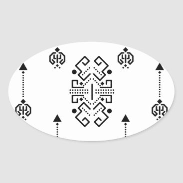 Aztec Themed Ethnic abstract design oval sticker