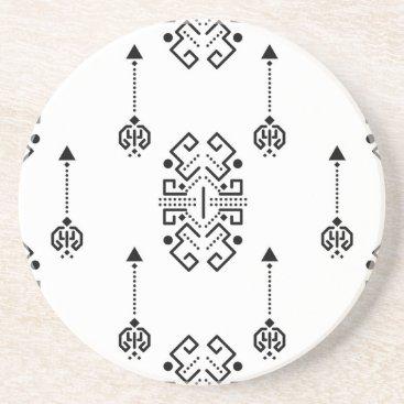Aztec Themed Ethnic abstract design sandstone coaster