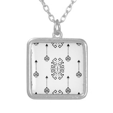 Aztec Themed Ethnic abstract design silver plated necklace