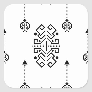Aztec Themed Ethnic abstract design square sticker
