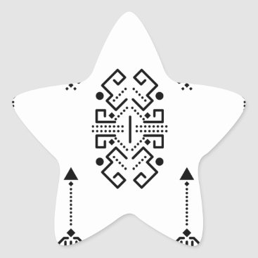 Aztec Themed Ethnic abstract design star sticker