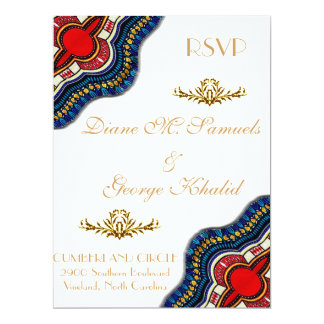 Ethnic African Dashiki Lace Wedding Party Card