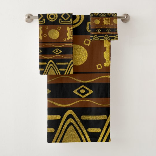 Ethnic African Golden Pattern On Black And Brown Bath