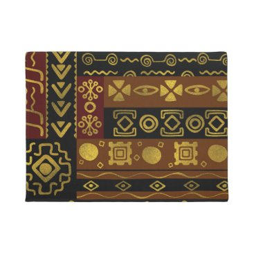 Ethnic African Golden Pattern on black and brown Doormat