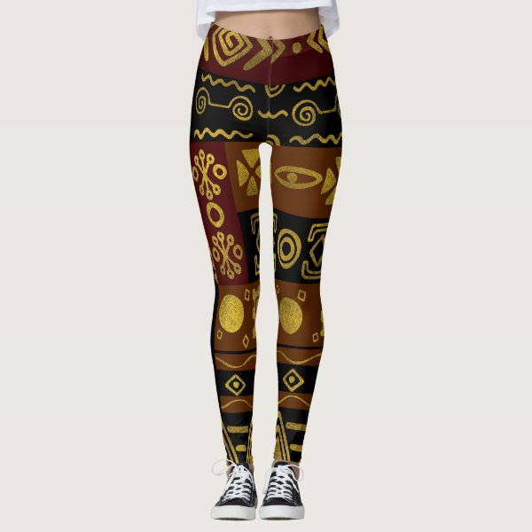 Ethnic African Golden Pattern on black and brown Leggings