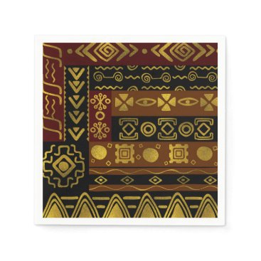 Ethnic African Golden Pattern on black and brown Paper Napkin