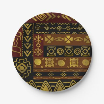 Ethnic African Golden Pattern on black and brown Paper Plate