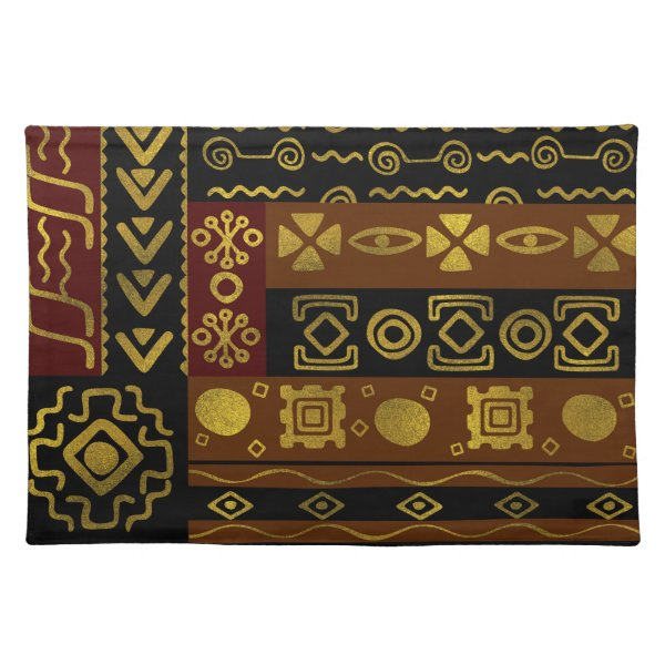 Ethnic African Golden Pattern on black and brown Placemat