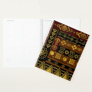 Ethnic African Golden Pattern on black and brown Planner