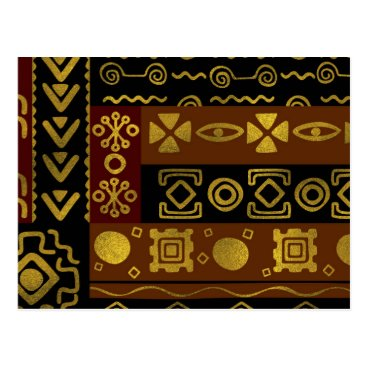 Aztec Themed Ethnic African Golden Pattern on black and brown Postcard