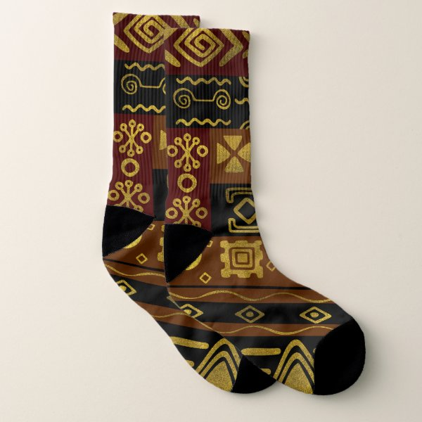 Ethnic African Golden Pattern on black and brown Socks
