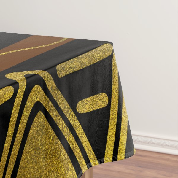 Ethnic African Golden Pattern on black and brown Tablecloth