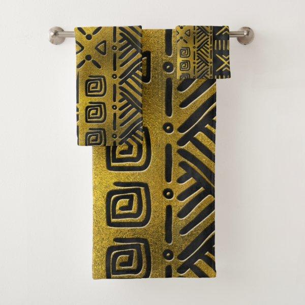 Ethnic African Golden Pattern on black Bath Towel Set