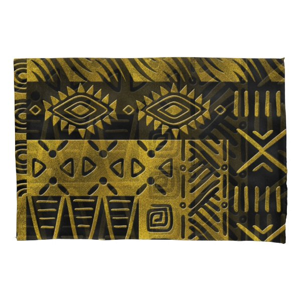 Ethnic African Golden Pattern on black Pillow Case