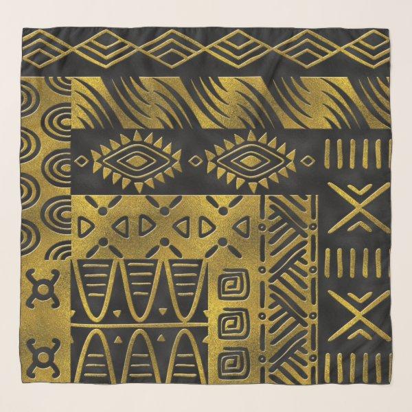 Ethnic African Golden Pattern on black Scarf