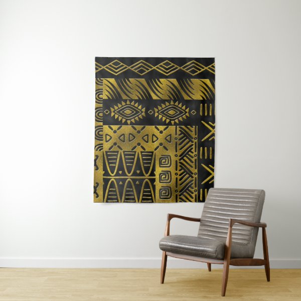 Ethnic African Golden Pattern on black Tapestry