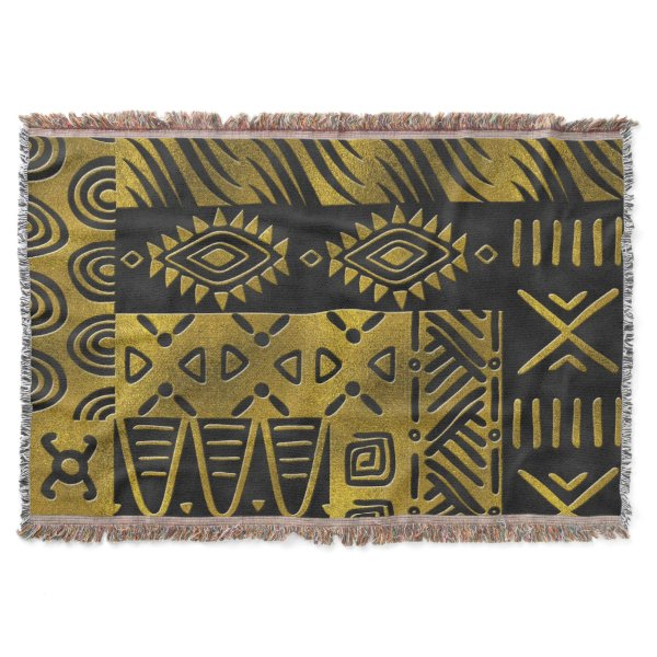 Ethnic African Golden Pattern on black Throw