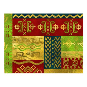 Aztec Themed Ethnic African Golden Pattern on color Postcard