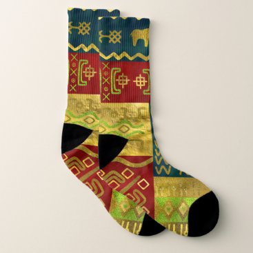 Aztec Themed Ethnic African Golden Pattern on color Socks