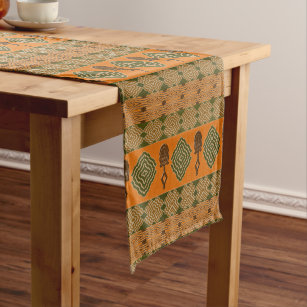 Ethnic African Tribal Geometric Pattern Short Table Runner