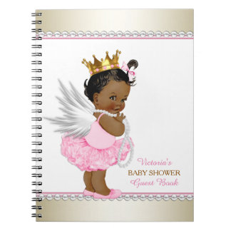 Ethnic Angel Girl Baby Shower Guest Book Notebook