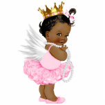 """Ethnic Angel Princess Baby Girl Shower Cutout<br><div class=""""desc"""">Ethnic angel ballerina tutu princess baby shower sculpture with adorable little angel princess baby girl wearing a tutu, crown and string of pearls. This cute angel baby shower sculpture is perfect for use as a baby shower table decoration or as a baby shower gift for baby&#39;s room. Pick your size...</div>"""